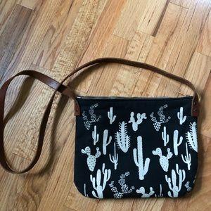 canvas & leather cactus crossbody bag